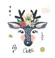 cute cartoon dear girl with flowers on head vector image vector image