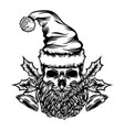 dead skull with christmas bell vector image vector image