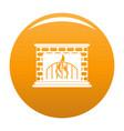 fireplace icon orange vector image vector image