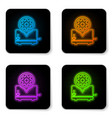 glowing neon toaster and gear icon isolated on vector image vector image