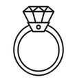 gold diamond ring icon outline style vector image vector image