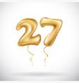 golden number 27 twenty seven metallic balloon vector image