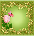 green background with rose butterfly and ornament vector image