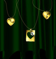 green drape and golden pendants vector image vector image