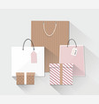 group of shopping bags and box vector image