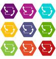 handsets with arrows icon set color hexahedron vector image vector image