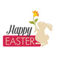 happy easter religious holiday white bunny with vector image vector image