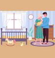 happy motherhood newborn baby with hugging vector image