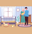 happy motherhood newborn bawith hugging vector image