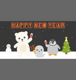 happy new year retro neon led light vector image