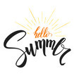 hello summer handwritten text with symbol of sun vector image