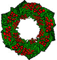 isolated green wreath with beautiful red currant vector image