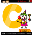 letter c with clown cartoon vector image vector image