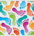 multicolor footprints 3d seamless wallpaper vector image vector image
