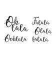 oh lala decorative cursive calligraphy set vector image