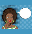 pop art surprised african woman with open mouth vector image vector image