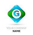 realistic letter g logo in colorful rhombus vector image vector image