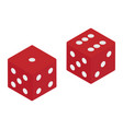 red game dice isometric view isolated on white vector image
