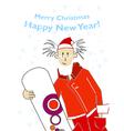 santa snowboarder vector image vector image