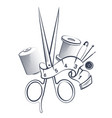 scissors and tools for sewing vector image