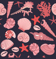 seamless pattern with pink sea shells on a dark vector image