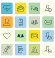 set of 16 social icons includes talking person vector image vector image
