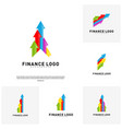 set of business stats finance logo concept vector image vector image