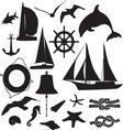 set of silhouettes symbolizing the marine leisure vector image