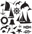 set silhouettes symbolizing marine leisure vector image