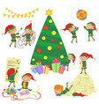 small cute elves decorating vector image vector image