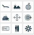 tourism icons set with tanker motor ship beach vector image