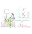 woman talking video call on smartphone vector image