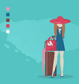 young girl with travel bag and ice cream vector image vector image