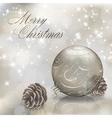 Silver Christmas greeting card vector image