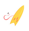 yellow surfboard sea extreme sport equipment vector image