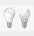 3d realistic electric lightbulbs broken vector image