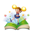 A green storybook with a cheerdancer vector image vector image