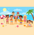 beach kids happy children summer holidays cute vector image