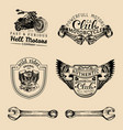 biker club signs motorcycle repair logos vector image