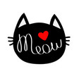 black cat head silhouette shape meow lettering vector image vector image