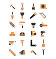 black orange construction icons set vector image