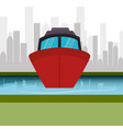 boat marine cityscape graphic vector image