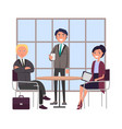 bosses at business meeting sitting at round table vector image vector image