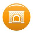 brick fireplace icon orange vector image vector image