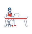 business man sitting computer working desk vector image