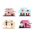 business people working and wearing medical masks vector image vector image