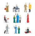 cartoon characters muslim man and woman people set vector image