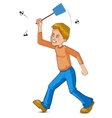 Cartoon man tries to catch fly with flyswatter vector image vector image