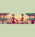 chinese people celebrate new year in china village vector image
