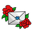 envelope with red flower holiday letter vector image vector image